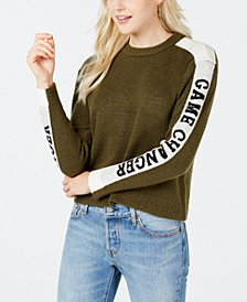 Oh!MG Juniors' Text-Stripe Sweater