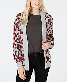Ultra Flirt by Ikeddi Juniors' Fluffy Leopard-Print Cardigan