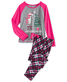 Max & Olivia Big Girls 2-Pc. Unicorn Elf Pajama Set, Created for Macy's