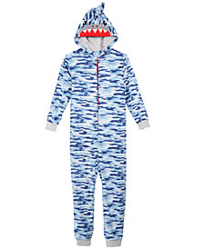 Max & Olivia Little & Big Boys Camo-Print Shark Hooded Onesie, Created for Macy's