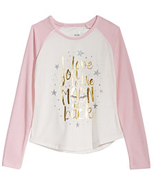 Max & Olivia Big Girls Moon-Print Pajama T-Shirt, Created for Macy's