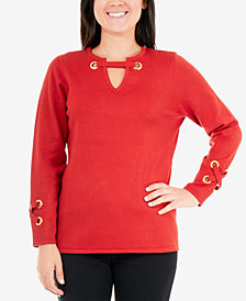NY Collection Grommet-Detail Sweater
