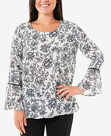NY Collection Floral-Print Bell-Sleeve Top