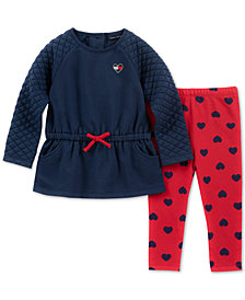 Tommy Hilfiger Baby Girls 2-Pc. Peplum Tunic & Heart-Print Leggings Set