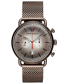 Men's Chronograph Brown Stainless Steel Mesh Bracelet Watch 43mm