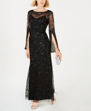 ADRIANNA PAPELL Sequin Beaded Split Cuff Gown in Black