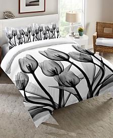 Laural Home Monochromatic Black Tulips Queen Comforter