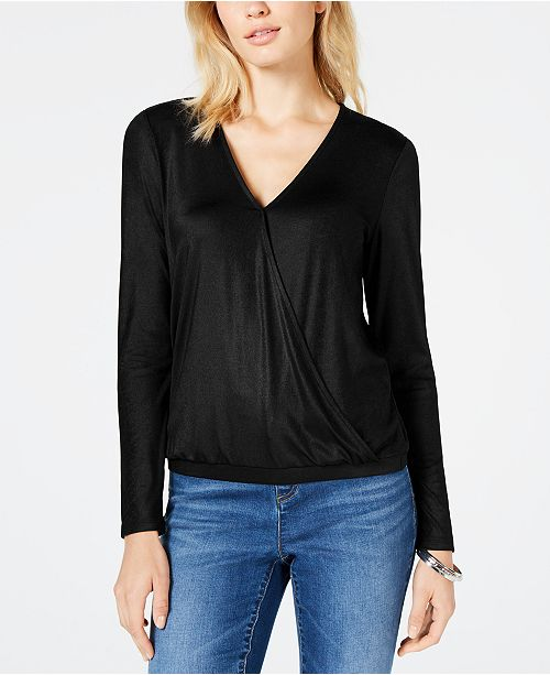 INC International Concepts I.N.C. Petite Surplice-Neck Banded-Hem Top, Created for Macy's