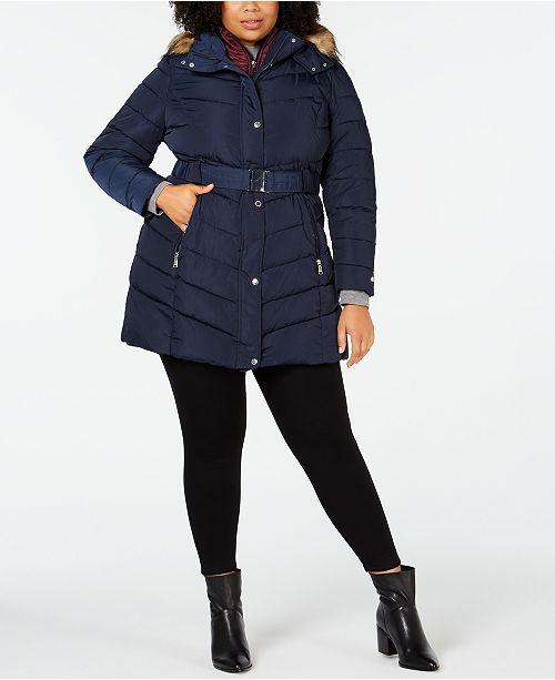 d34dcb58f5d Tommy Hilfiger Plus Size Faux-Fur-Trim Hooded Puffer Coat ...