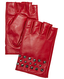 DKNY Studded Leather Fingerless Gloves, Created for Macy's