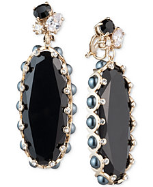 Carolee Gold-Tone Crystal & Stone Clip-On Drop Earrings