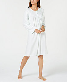 Miss Elaine Embroidery-Trimmed Brushed Knit Nightgown