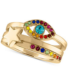 RACHEL Rachel Roy Gold-Tone 3-Pc. Set Multicolor Crystal Evil Eye & Star Stack Rings