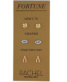 RACHEL Rachel Roy Tri-Tone 3-Pc. Set Crystal Stud Earrings