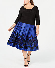 SL Fashions Plus Size Glitter-Flocked Ruched Dress