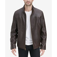 Cole Haan Men's Smooth Leather Jacket (Brown/Black)