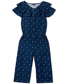 Tommy Hilfiger Big Girls Printed Flare-Leg Jumpsuit