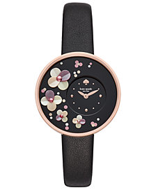 kate spade new york Women's Metro Black Leather Strap Watch 36mm