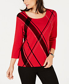 Karen Scott Petite Studded Argyle-Print Top, Created for Macy's