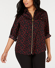 MICHAEL Michael Kors Plus Size Floral-Print Zip-Up Top