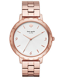 kate spade new york Women's Metro Scallop Pink Gold-Tone Stainless Steel Bracelet Watch 38mm