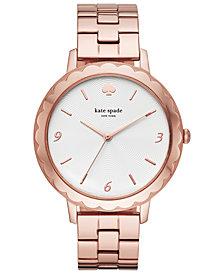 kate spade new york Women's Metro Scallop Pink Gold-Tone Stainless Steel Bracelet Watch 38mm