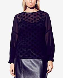 City Chic Trendy Plus Size Flocked Dot Top