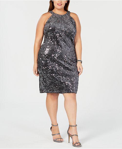 Nightway Plus Size Sequined Velvet Dress & Reviews - Women