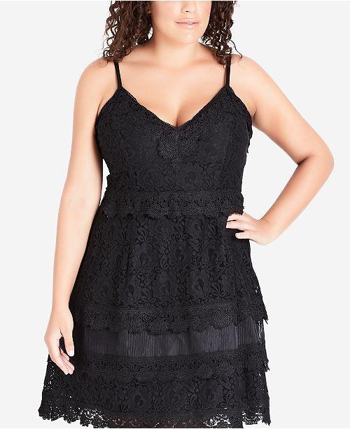 City Chic Trendy Plus Size Tiered Lace Dress Dresses Plus Sizes