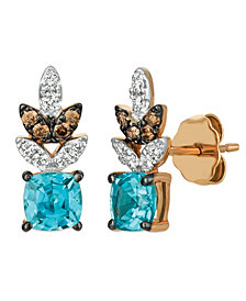 Le Vian® Blue Zircon (1 1/5 ct.t.w.), Nude Diamonds™ (1/6 ct.t.w.), and Chocolate Diamonds® (1/10 ct.t.w.) Earrings set in 14k rose gold
