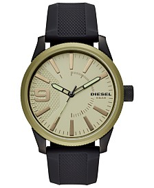 Diesel Men's Rasp NSBB Black Silicone Strap Watch 46mm