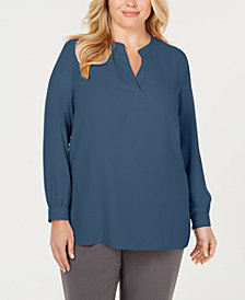 Anne Klein Plus Size Split-Neck Top