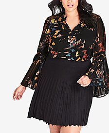 City Chic Plus Size Pleated Skirt
