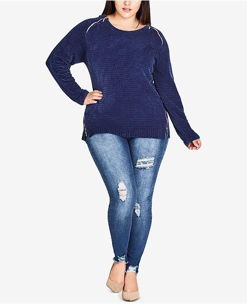 City Chic Trendy Plus Size Zipper Shoulder Sweater