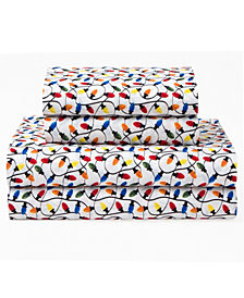 Xmas Lights Queen 90 Gsm Sheet Set, Flat Sheet 90X104, Fitted Sheet 60X80X14, 21X31 2 Pc
