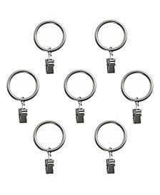 Montevilla Curtain Clip Rings for 5/8-Inch Curtain Rod, Set of 7, Dark Nickel