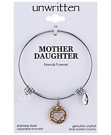 Unwritten Two-Tone Mother & Daughter Heart Charm Bangle Bracelet in Rose Gold-Tone & Stainless Steel
