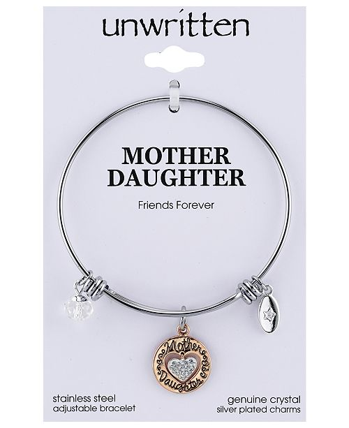 Two Tone Mother Daughter Heart Charm Bangle Bracelet In Rose Gold Stainless Steel