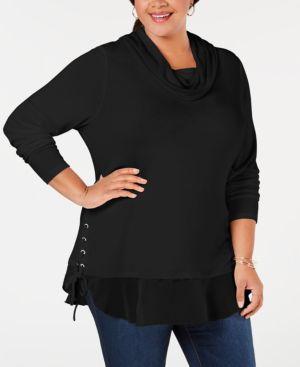 BELLDINI Belle By Belldini Plus Size Lace-Up Cowl-Neck Sweater in Black/Silver