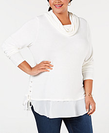 Belldini Plus Size Lace-Up Cowl-Neck Sweater