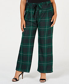 John Paul Richard Plus Size Belted Plaid Pants