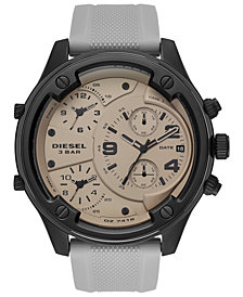 Diesel Men's Chronograph Boltdown Gray Silicone Strap Watch 56mm