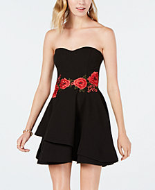 B Darlin Juniors' Embroidered Strapless Fit & Flare Dress
