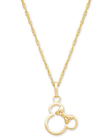 "Disney© Children's Minnie Mouse Silhouette 15"" Pendant Necklace in 14k Gold"