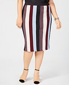 I.N.C. Plus Size Metallic Striped Skirt, Created for Macy's