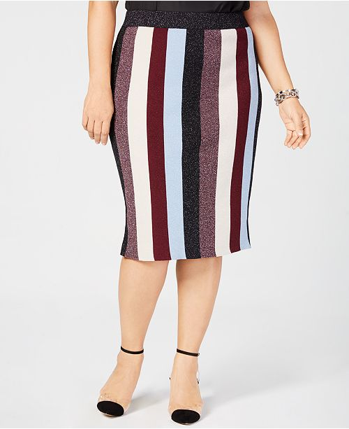 604d4fedbf ... INC International Concepts I.N.C. Plus Size Metallic Striped Skirt,  Created for Macy's ...