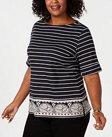 Karen Scott Plus Size Nautical-Stripe Border-Print Top, Created for Macy's