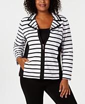 e81b9c4634a Karen Scott Plus Size Casual Striped Zip-Front Jacket