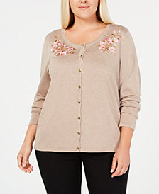 Karen Scott Plus Size Flower-Embroidered Cardigan Sweater. Created for Macy's