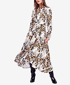 Free People Tough Love Printed Maxi Shirtdress